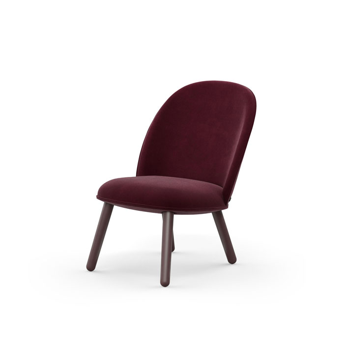 Ace Lounge Chair , Velour dark red