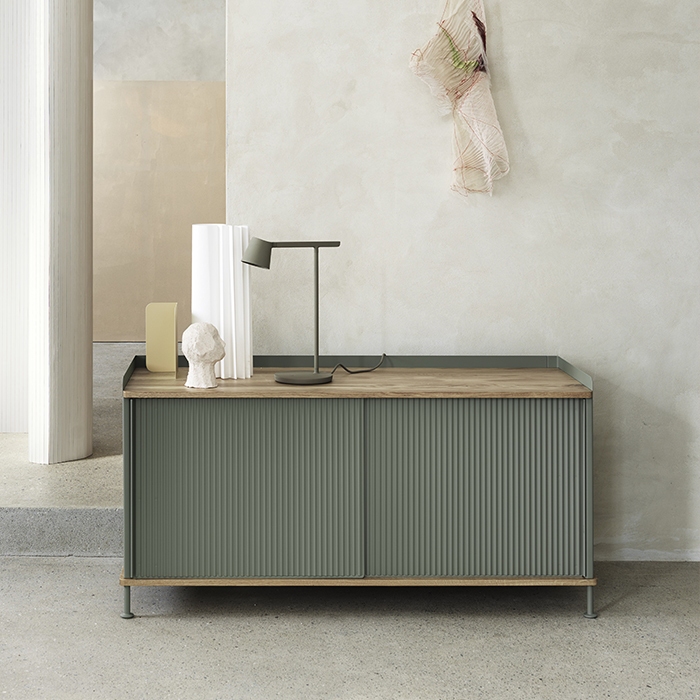 Enfold Sideboard Low  Oak/Dusty Green_